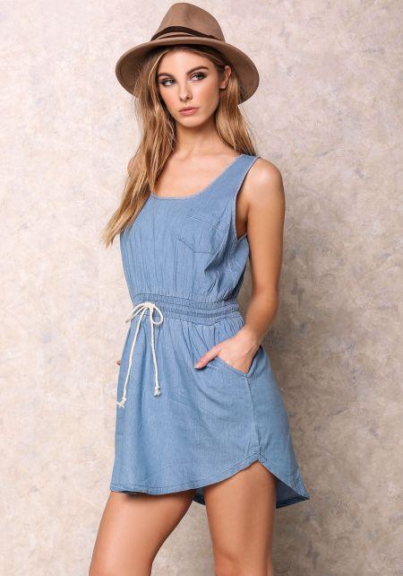 Light Denim Drawstring Pocket Dress
