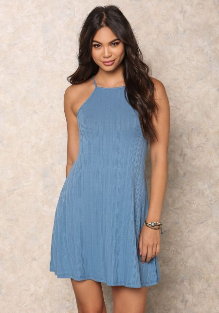 Blue Ribbed Knit Cami Dress