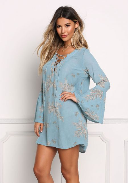 Dusty Blue Gauze Lace Up Shift Dress