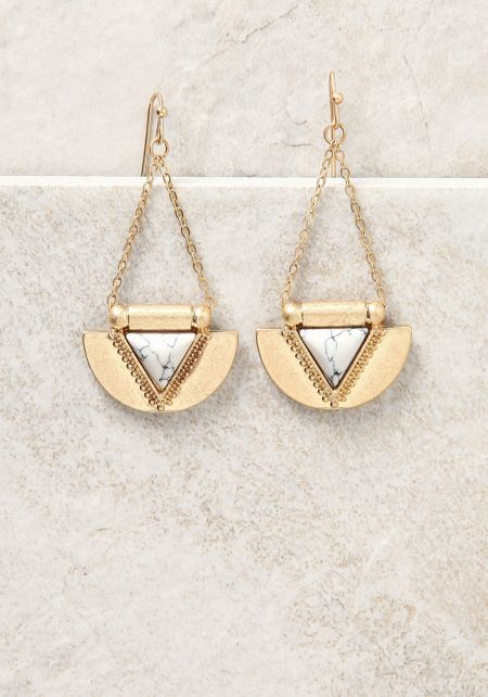 White and Gold Curved Triangle Chandelier Earrings