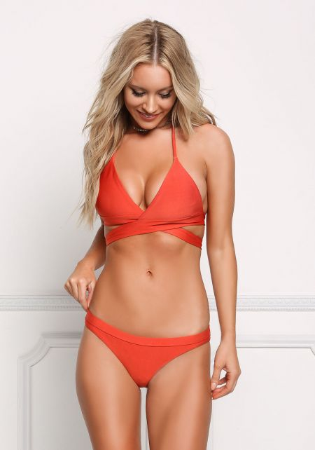 Rust Low Rise Triangle Swimsuit Bikini Bottoms