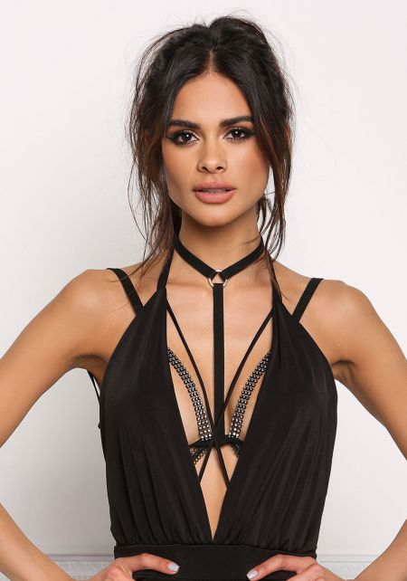 Gold and Black Rhinestone & Suedette Body Chain Br