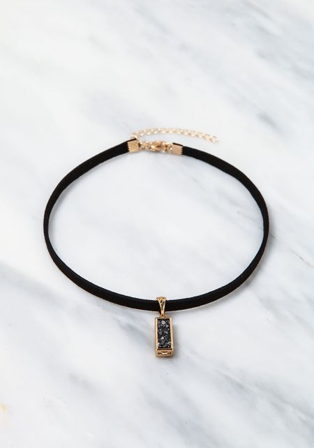 Black Encrusted Bar Choker
