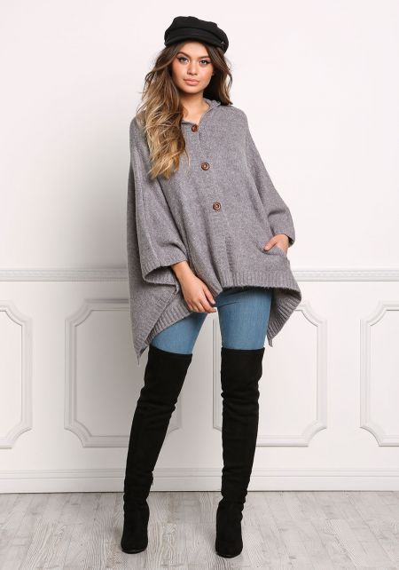 Grey Hooded Over Sized Pointed Thick Knit Cardigan