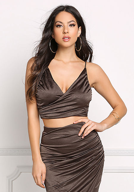 Olive Ruched Faux Wrap Crop Top