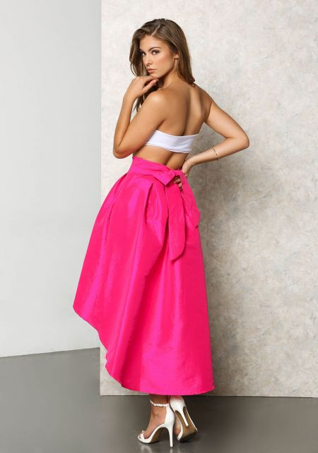 Fuchsia Lustrous Taffeta Hi-Lo Pleat Skirt