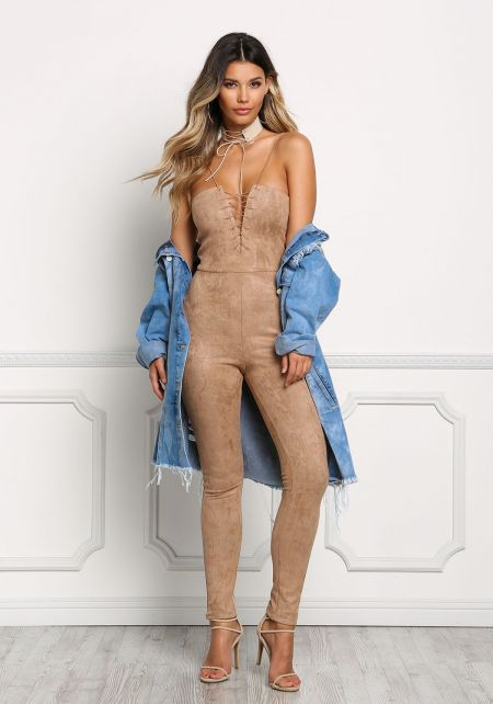 Beige Suedette Strapless Lace Up Jumpsuit