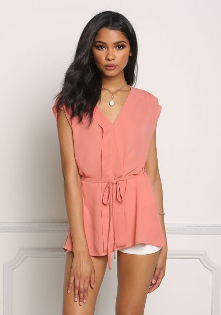 Dark Coral Cap Sleeve Cinched Blouse