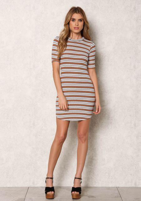 Multi Colored Stripe Ribbed Knit Dress