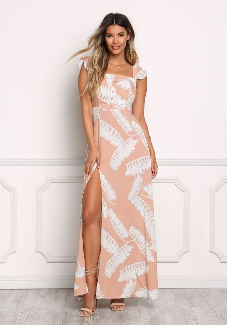 Blush Leaf Print High Slit Maxi Dress