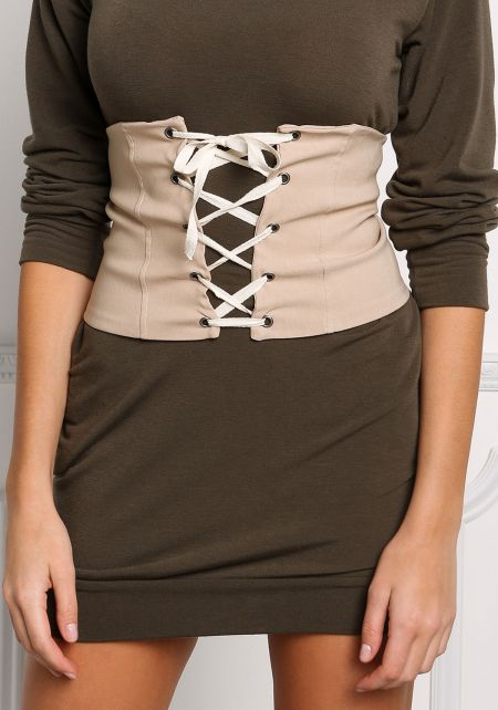 Nude Lace Up Corset Belt
