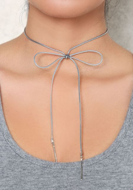 Grey Thin Bow Choker