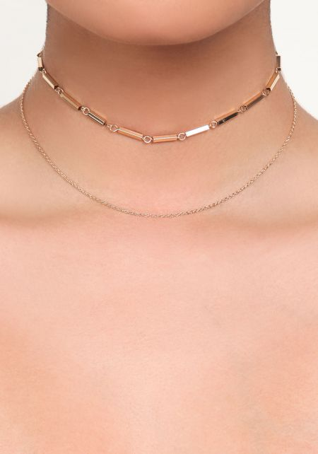 Gold Thin Chain Layered Choker