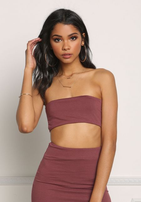 Wine Bandeau Crop Top