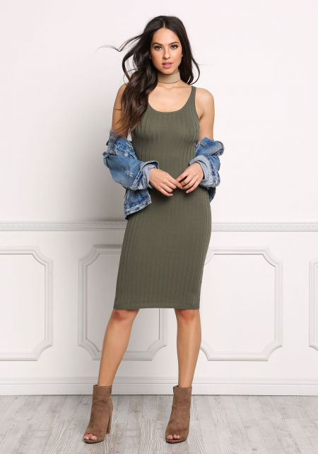 Olive Ribbed Knit Bodycon Tank Dress