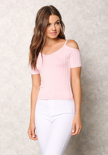 Pink Ribbed Knit Cold Shoulder Top