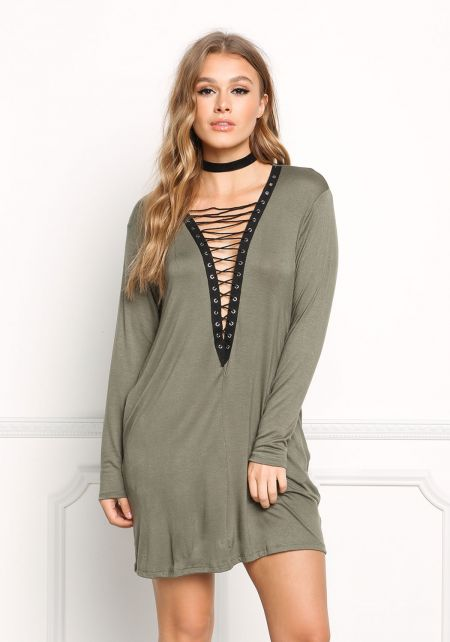 Olive Plunge Lace Up Shift Dress
