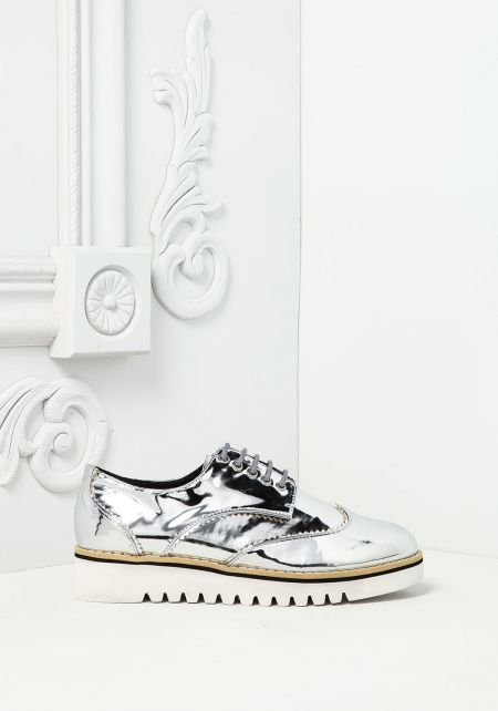Silver Chrome Leatherette Platform Sneakers
