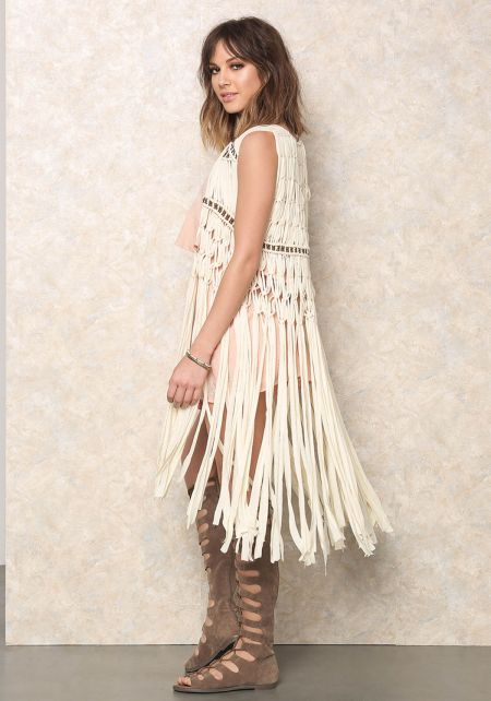 Cream Knotted Fringe Bead Vest