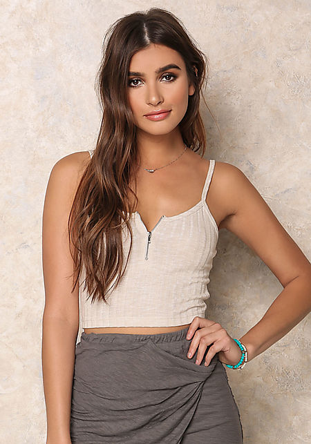 Taupe Ribbed Knit Zipper Crop Top