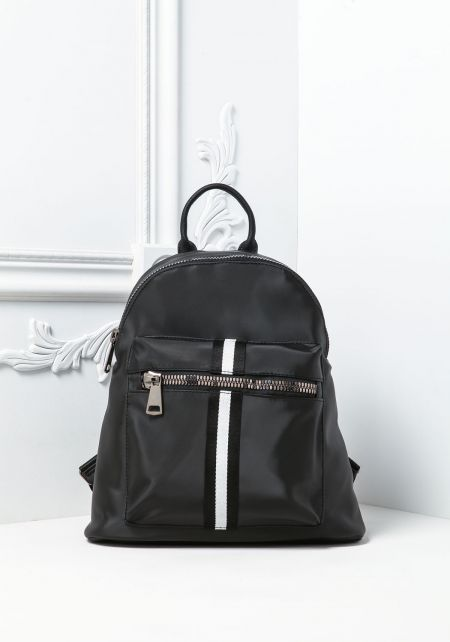 Black Stripe Large Zipper Backpack