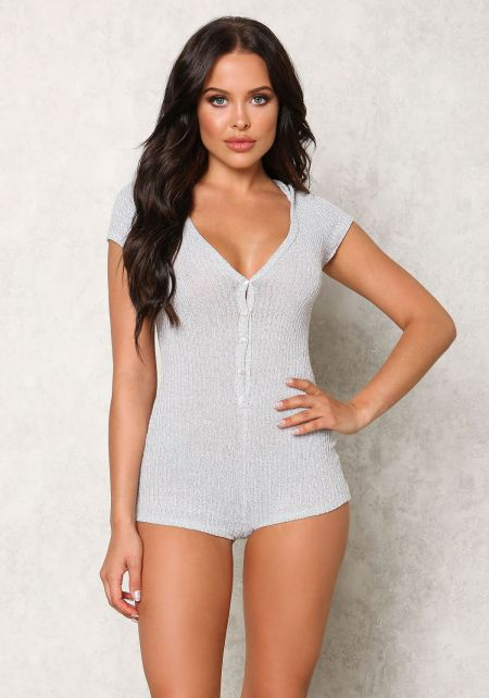 Heather Grey Ribbed Knit Hoodie Romper