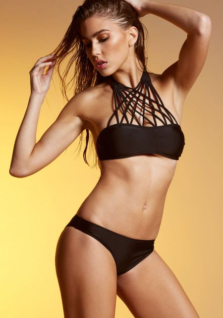 Black Criss Cross Neck Bikini Set