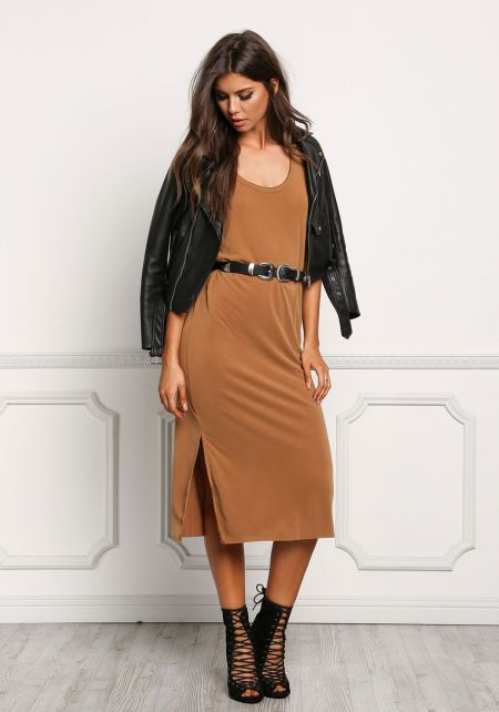 Camel Jersey Knit Tank Shift Dress