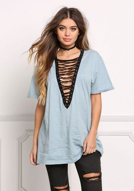 Sky Blue Plunge Lace Up Tee Shirt