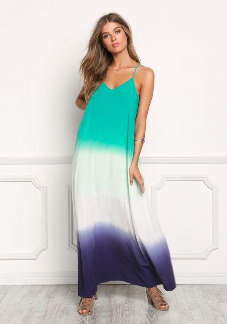 Jade Color Block Maxi Dress