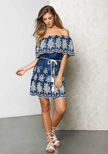 White and Navy Floral Embroidered Layered Dress