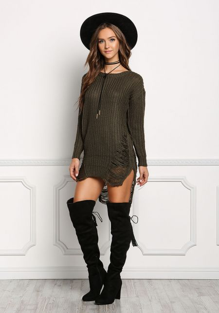Olive Frayed Chunky Knit Tunic Top