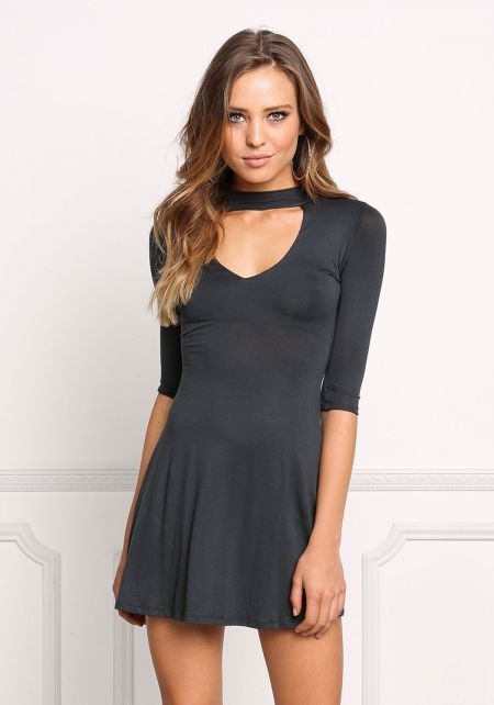 Black Jersey Knit Choker Flared Dress