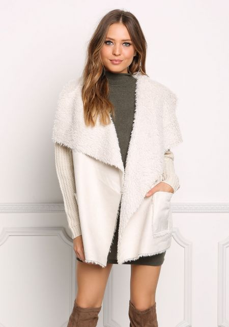 Beige Faux Shearling Suedette Thick Knit Cardigan