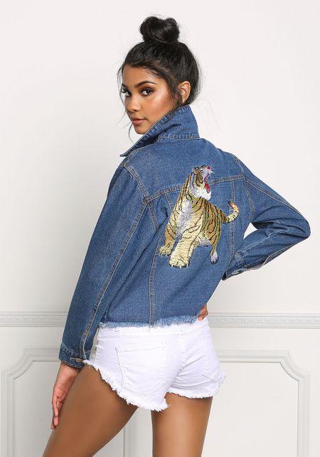 Tiger Embroidered Frayed Denim Jacket