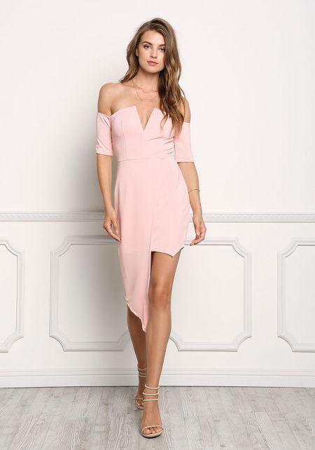 Blush Off Shoulder Asymmetrical Bodycon Dress