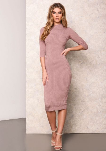 Dusty Pink Ribbed Turtleneck Bodycon Dress