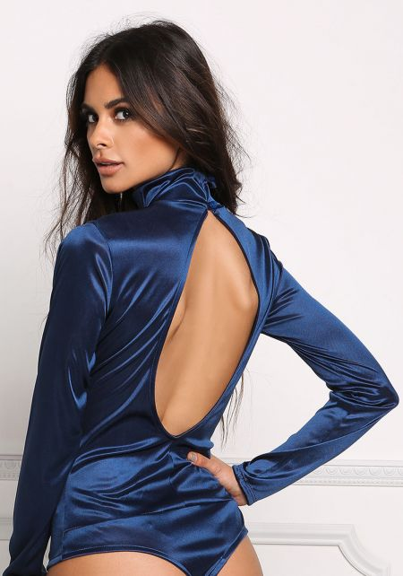 Navy Satin Open Back Bodysuit