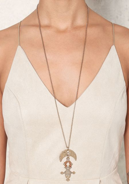 Gold Tribal Pendant Low Necklace