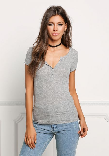 Heather Grey Ribbed Knit T-Shirt