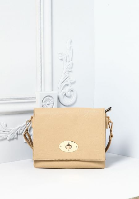 Beige Leatherette Multi Compartment Crossbody Bag
