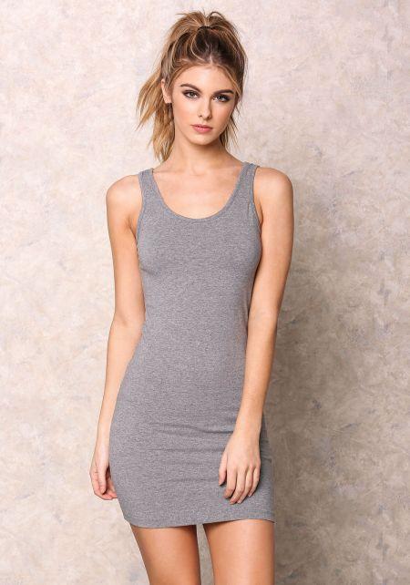 Grey Basic Tank Knit Dress
