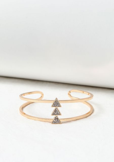Gold Rhinestone Triangles Double Cuff Bracelet