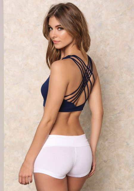 Navy Caged Back Sports Bra