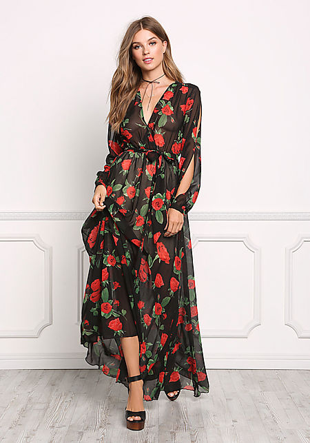 Black and Red Chiffon Rose Slit Maxi Dress
