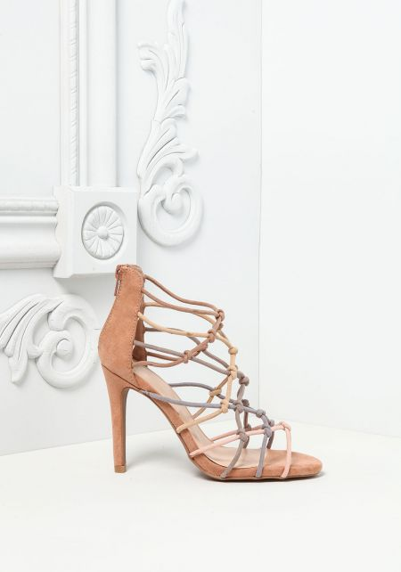 Blush Suedette Knotted Strap Heels
