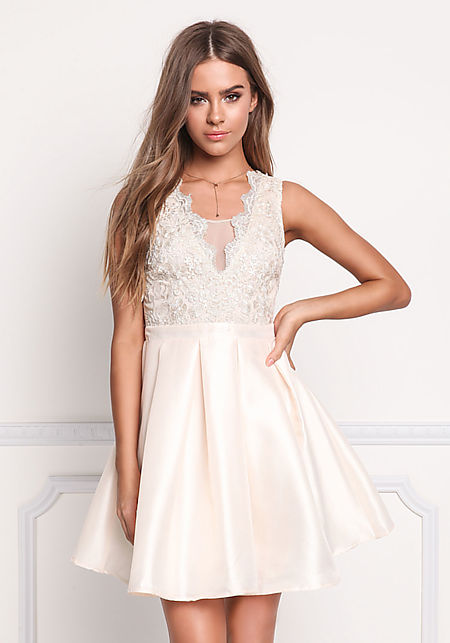 Champagne Taffeta Embroidered & Pleated Flare Dres