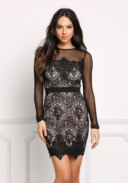 Black Lace Embroidered Mesh Trim Bodycon Dress