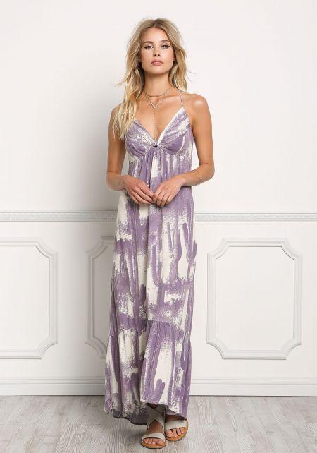 Lavender Gauze Printed Cut Out Hi-Lo Maxi Dress