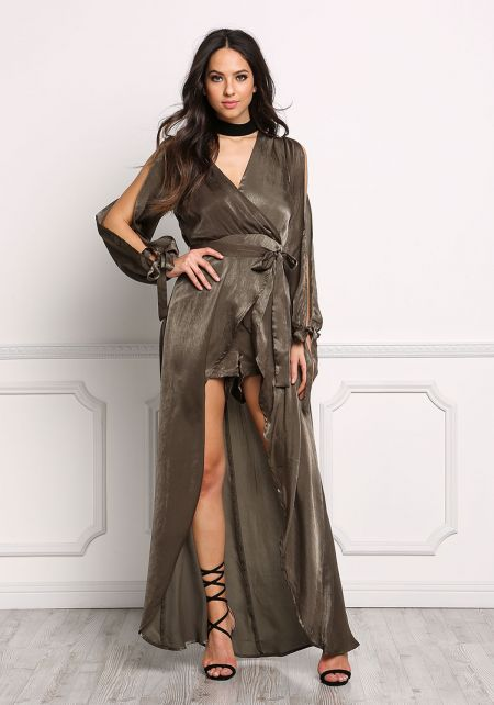 Olive Slinky Arm Slit Faux Wrap Maxi Romper